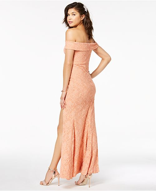 dfce17bd6e6a ... City Studios Juniors  Off-The-Shoulder Lace Gown