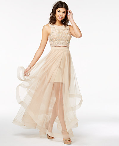 Say Yes to the Prom Juniors' Embellished Illusion-Skirt ...