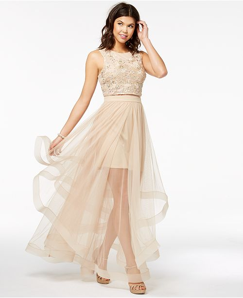 96e6c5e077 Say Yes To The Prom Juniors Embellished Illusion Skirt Dress