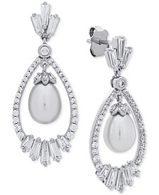 Cultured Freshwater Pearl (7mm) & Swarovski Zirconia Orbital Drop Earrings in Sterling Silver