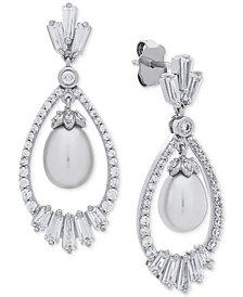 Arabella Cultured Freshwater Pearl (7mm) & Swarovski Zirconia Orbital Drop Earrings in Sterling Silver