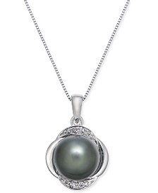 Cultured Tahitian Pearl (9mm) & Diamond (1/10 ct. t.w.) Pendant Necklace in 14k White Gold