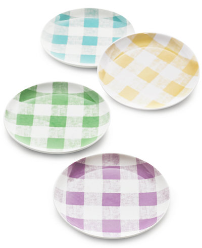 Martha Stewart Collection Set Of 4 Gingham Appetizer Plates, Created for Macy's