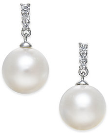 Cultured Freshwater Pearl (8mm) & Diamond Accent Drop Earrings in 14k White Gold