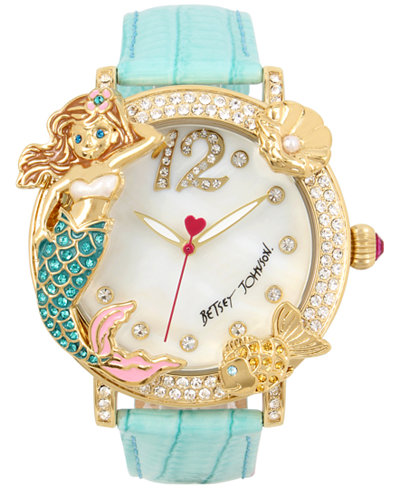 Betsey Johnson Women's Mermaid & Fish Gold-Tone Mint Green Leather Strap Watch 44mm