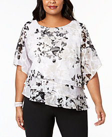 Alex Evenings Plus Size Printed Tiered Blouse