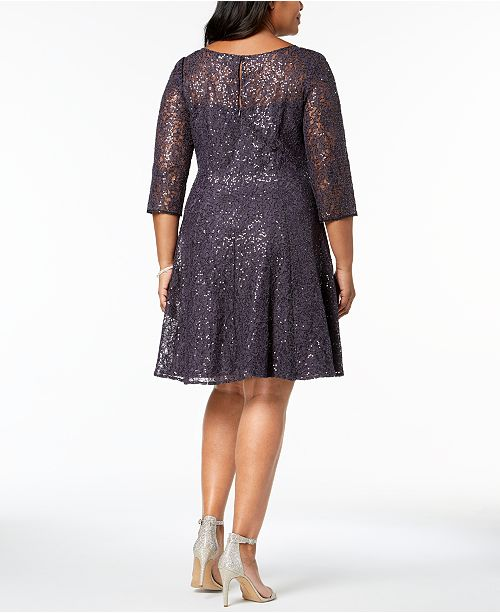 4848504b2e0 SL Fashions Plus Size Sequined Lace Fit   Flare Dress   Reviews ...