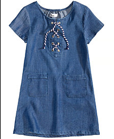 Epic Threads Chambray Lace-Up Dress, Toddler Girls, Created for Macy's