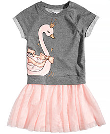 Epic Threads Layered-Look Swan Sweatshirt Dress, Big Girls, Created for Macy's