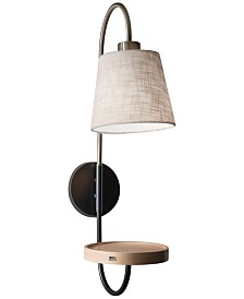 Adesso Jeffrey Wall Lamp with USB Port