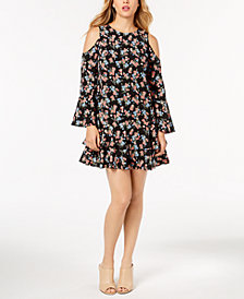 kensie Tiered Cold-Shoulder Dress
