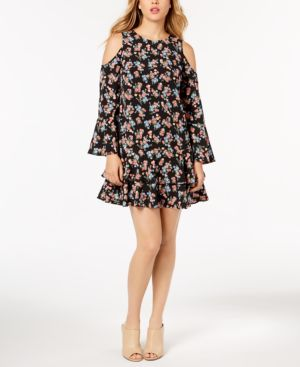 KENSIE TIERED COLD-SHOULDER DRESS