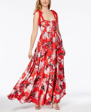 FAME AND PARTNERS THE KHANNI FLORAL-PRINT BUSTIER GOWN