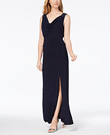 Alex Evenings Embellished Draped Cowl Gown