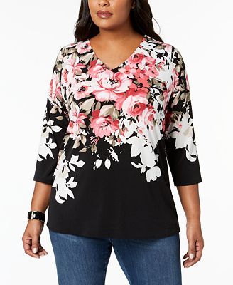 Charter Club Plus Size Printed Tulip-Back Tunic, Created for Macy's
