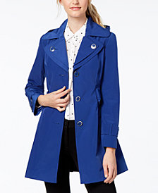 London Fog Water-Resistant Layered-Collar Trench Coat