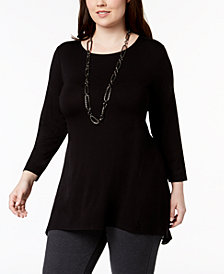 Alfani Plus Mixed-Media Top, Created for Macy's