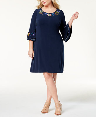 Plus Size Ruffled Sleeve A Line Dress by Ny Collection