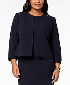 Nine West Plus Size Hardware-Detail Blazer