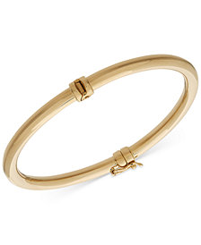 Italian Gold Polished Hinged Bangle Bracelet in 14k Gold
