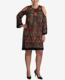 ECI Plus Size Printed Cold-Shoulder Dress