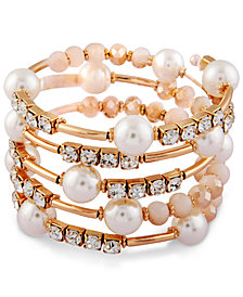 Say Yes to the Prom Gold-Tone Crystal, Pink Stone & Imitation Pearl Coil Bracelet