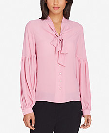 Tahari ASL Petite Tie-Neck Pleated-Sleeve Blouse