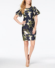 Tommy Hilfiger Floral-Print Ruffle-Sleeve Scuba Dress