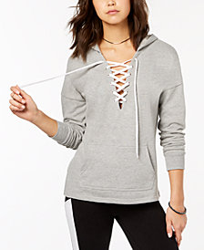 Material Girl Active Juniors' Lace-Up Pullover Hoodie, Created for Macy's