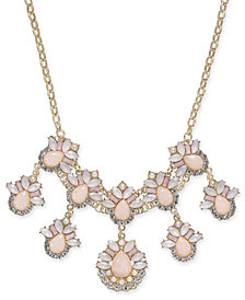 "I.N.C. Gold-Tone Stone & Crystal Teardrop Statement Necklace, 18"" + 3"" extender, Created for Macy's"