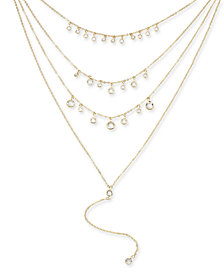 "I.N.C. Gold-Tone Crystal Multi-Layer Lariat Necklace, 14"" + 3"" extender, Created for Macy's"