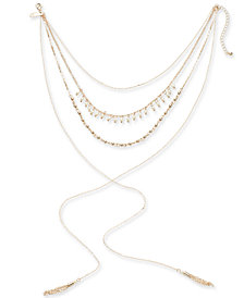 "I.N.C. Rose Gold-Tone Imitation Pearl, Bead and Tassel Lariat Choker Necklace, 12"" + 3"" extender, Created for Macy's"