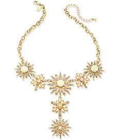 "I.N.C. Gold-Tone Stone & Crystal Flower Y Necklace 15"" + 3"" extender, Created for Macy's"