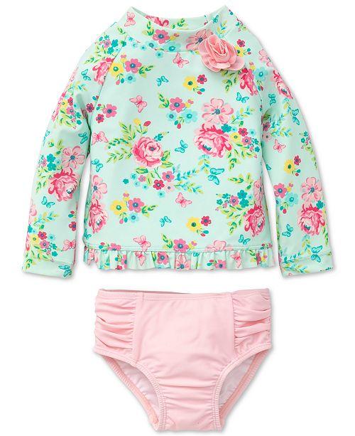 2-Pc. Floral-Print Rash Guard, Baby Girls