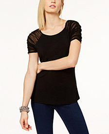 I.N.C. Ruched Illusion-Sleeve Top, Created for Macy's