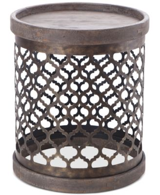 Cooper Metal Drum Accent Table, Quick Ship