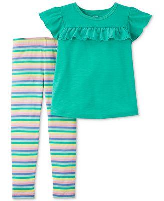 Carter's 2-Pc. Ruffle Top & Striped Leggings Set, Toddler Girls