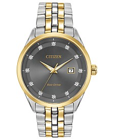Citizen Men's Eco-Drive Corso Diamond-Accent Two-Tone Stainless Steel Bracelet Watch 41mm