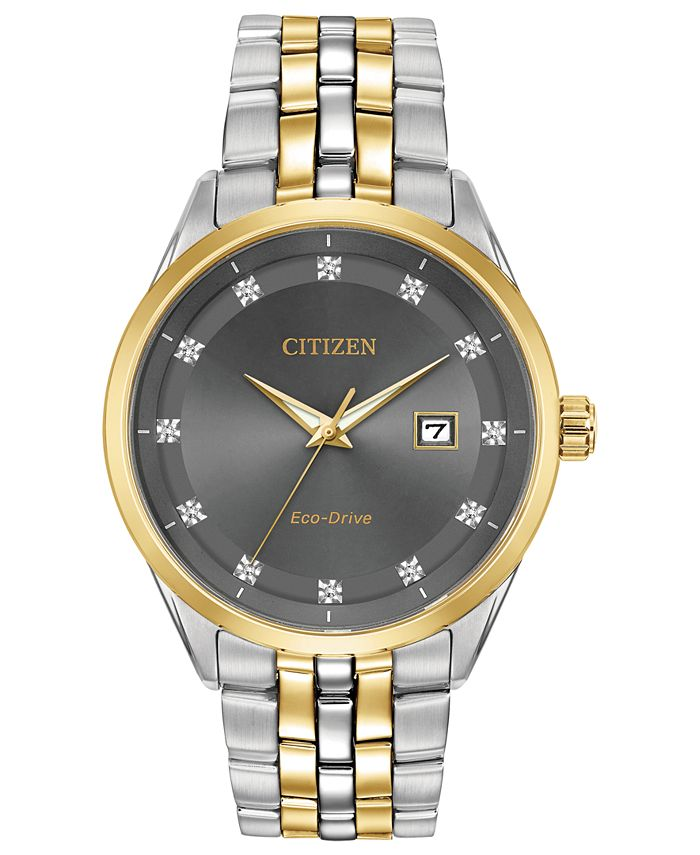 Citizen - Men's Eco-Drive Corso Diamond-Accent Two-Tone Stainless Steel Bracelet Watch 41mm