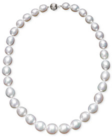 "Pearl Necklace, 18"" 14k White Gold White Cultured South Sea Graduated Pearl Strand (10-13mm)"