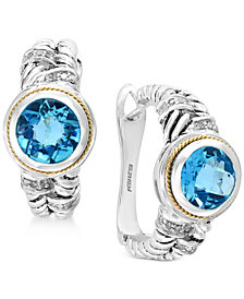 Final Call by EFFY® Blue Topaz (4-1/3 ct. t.w.) & Diamond (1/6 ct. t.w.) Hoop Earrings in Sterling Silver & 18k Gold