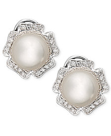 14k White Gold Earrings, Diamond (1/3 ct. t.w.) and Cultured South Sea Pearl (9mm) Flower Stud Earrings