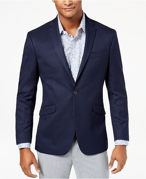 7c96c19411e0 ... Kenneth Cole Reaction Men s Slim-Fit Stretch Navy Blue Pin-Dot Sport  Coat ...