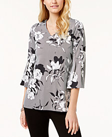 Charter Club Printed Bell-Sleeve Top, Created for Macy's