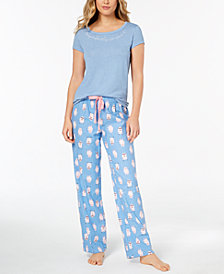 Jenni by Jennifer Moore Graphic-Print Pajama Top & Printed Pants, Created for Macy's