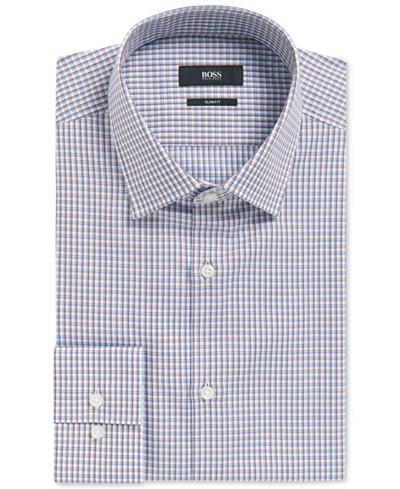 BOSS Men's Slim-Fit Plaid Cotton Dress Shirt