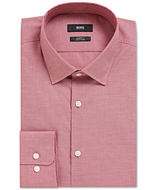 BOSS Men's Sharp-Fit Textured Cotton Dress Shirt