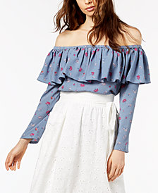 Jill Jill Stuart Off-The-Shoulder Flounce Top, Created for Macy's