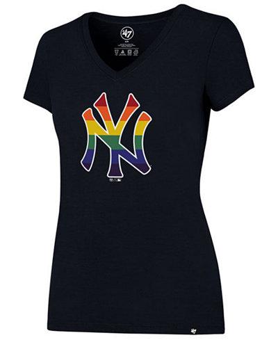 '47 Brand Women's New York Yankees Pride Splitter V-Neck T-Shirt