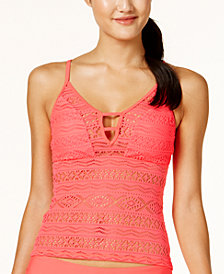 Hula Honey Juniors' Little Wild One Crochet Illusion Tankini Top, Created for Macy's